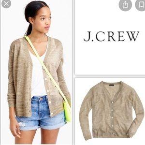 J Crew Silver Metallic Gold Light Cardigan M